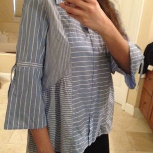 NWT Style & Co Small Blue White Shirt Top